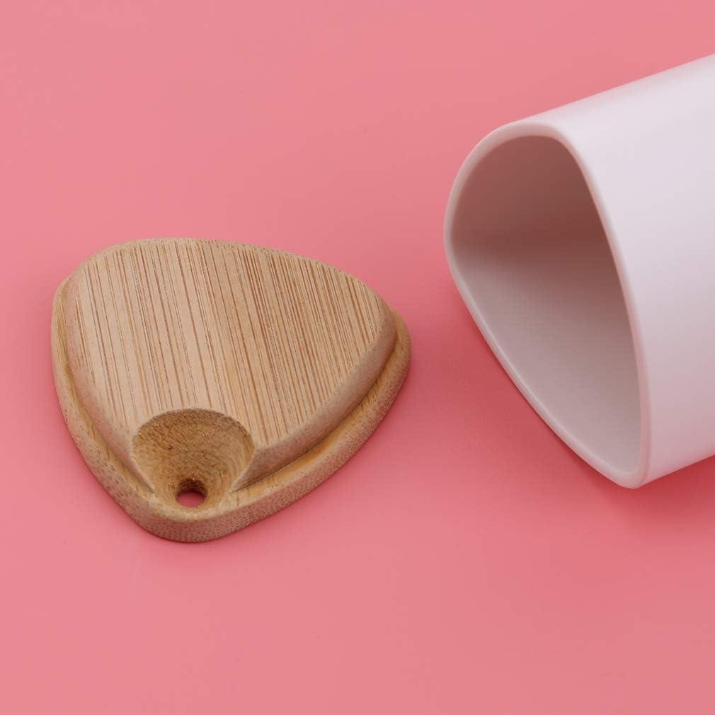 SUNSKYOO Distributeur de Cure-Dents en Plastique Support de Bureau Support de Distributeur de Cure-Dents Pot Couvercle en Bambou pour la Maison