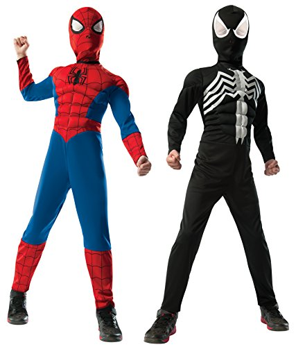 Rubie's Marvel Ultimate Spider-Man 2-in-1 Reversible Spider-Man / Venom Muscle Chest Costume, Child Small - Small One Color (Venom Black Spider Man Costume)