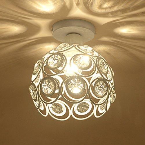 Plafoniera in Cristallo Moderno Lampadario in Cristallo Luce Lüster Lampadario 60W E27 per corridoio portico camera da letto (Bianca) chendongdong
