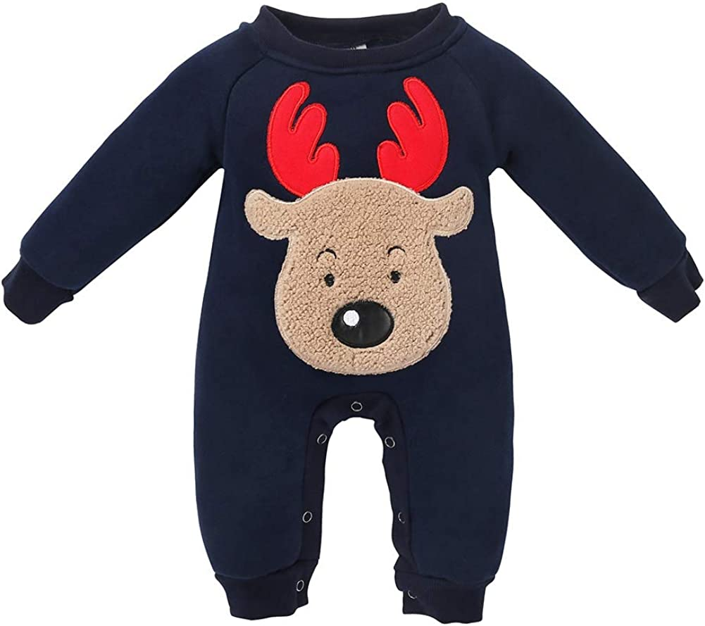 EFINNY Infant Romper Pure Cotton Romper Long Sleeves Elk Print Girls Boys Jumpsuit Climb Soft Clothing