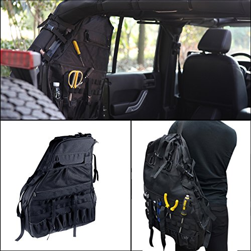 For 4-door Jeep Wrangler JK 2007-2016 Roll Bar Storage Bag Cargo with Multi-Pockets & Organizers & Cargo Bag Saddlebag Tool Kits Bottle Drink Phone Tissue Gadget Holder (Saddlebag Tool Kit)