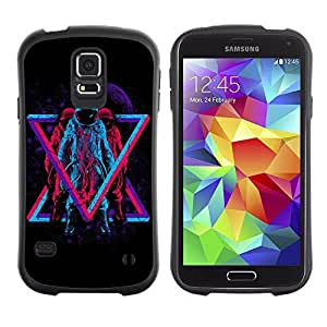 Hybrid Anti-Shock Bumper Case for Samsung Galaxy S5 / Cool Hipster Neon Astronauts