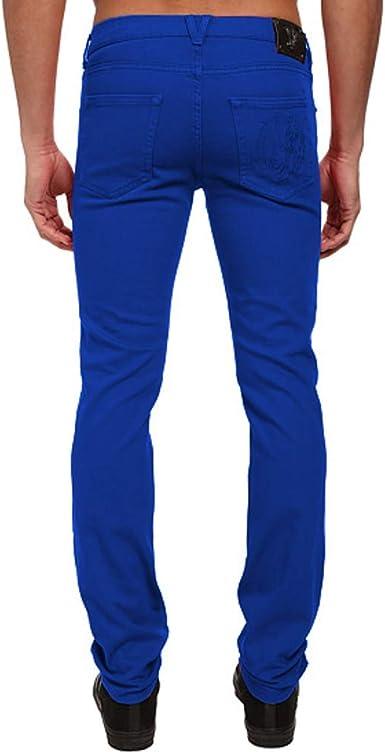 Amazon Com Versace Logo Trasero Jeans Slim Fit Pantalones Royal Blue 42 Azul Royal Clothing