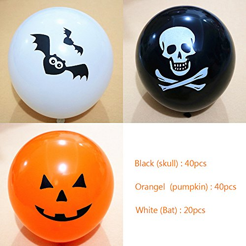 Halloween Balloons, 100 Pack 12 Inches Ultra Thickness Assorted Skull, Pumpkin and Bat Latex Balloons for Happy Halloween's Day Party Decoration, Color Black, Orange and White (Skull+Pumpkin+Bat)