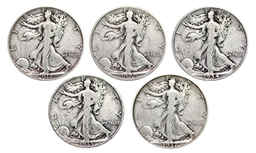 Walking Liberty Set of 5 Half Dollars Very Good (1918 Silver Half Dollar)