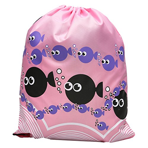 WEHOPS Unisex Swim Sports Drawstring Bags Gym Backpack for Adults and Kids Printed Fish Fuchsia