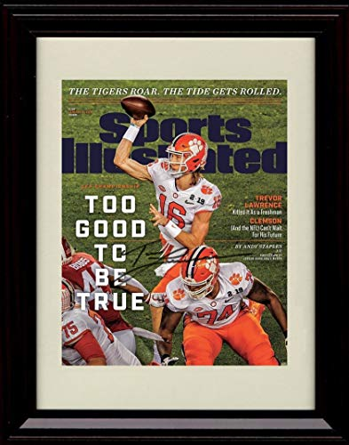 Champ Autograph - Framed Trevor Lawrence Sports Illustrated Autograph Replica Print - Clemson Tigers National Champs!