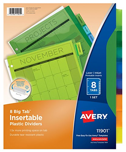 Insertable Avery Pockets (Avery Big Tab Insertable Plastic Dividers, 8 Multicolor Tabs, Case Pack of 24 Sets (11901))