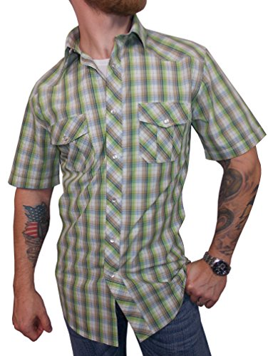 Casual Pearl Snap Rock Shirt Short Sleeve (Medium, Carbon Green) (Short Sleeve Pearl Snap)