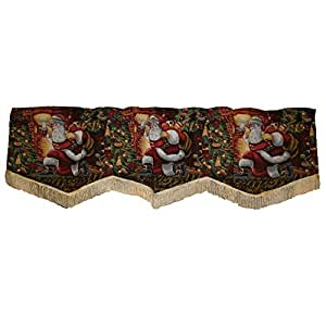 "Violet Linen Decorative Christmas Tapestry Window Valance, 60"" x 15"", Santa Claus Design"