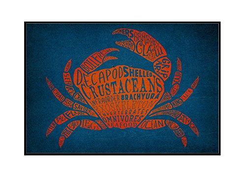 Crab - Typography (36x24 Framed Gallery Wrapped Stretched Canvas) by Lantern Press