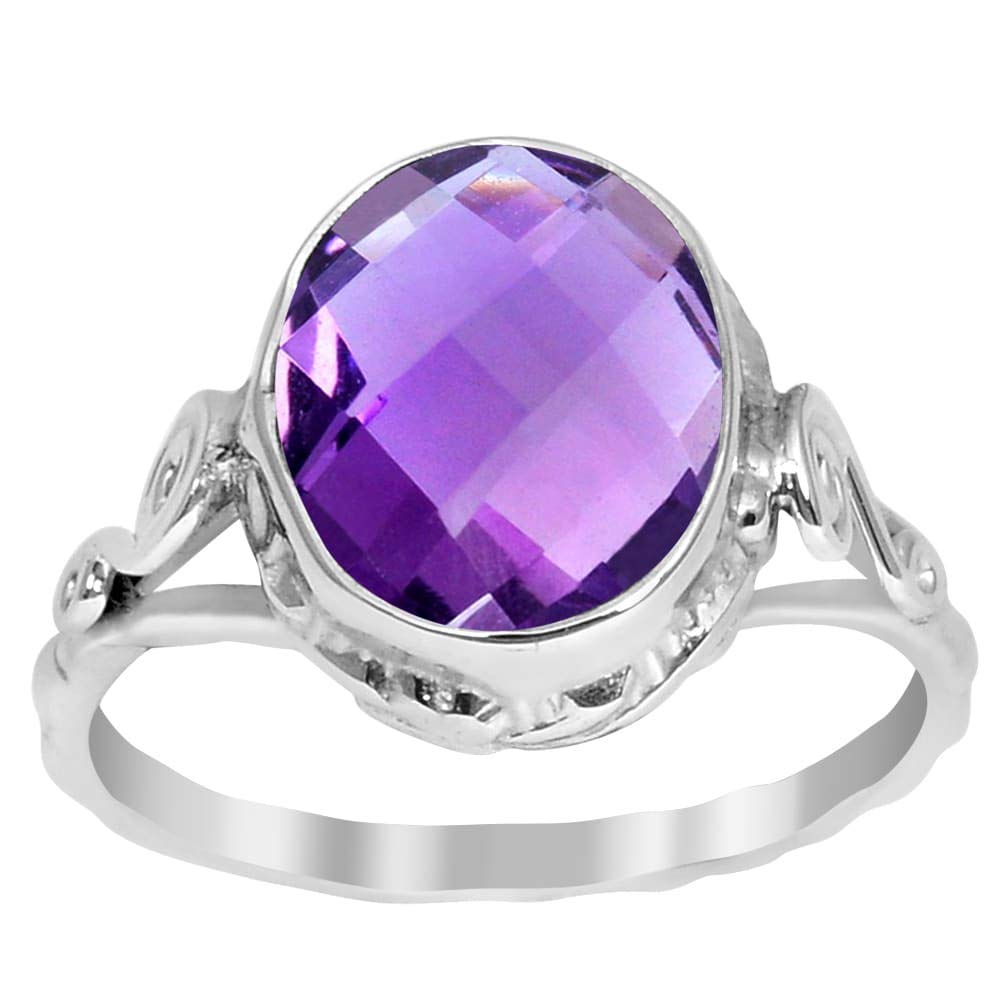 4.00 Ctw Amethyst Stone Rings For Women By Orchid Jewelry: Anniversary & Promise Rings For Women & Her, Purple February Birthstone Wedding Jewelry, Fashion Rings Size 6
