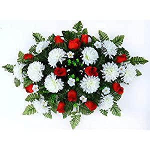 Spring Cemetery Saddle Arrangement - White Mums & Red Roses 29