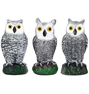 Pájaro Blinder Espantapájaros Falso búho Decoys - Bird Blinder Scarecrow Fake Owl Decoys - (pequeño) (juego de 3)