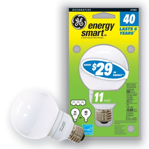 GE 47484-3 11 Watt (40 Watt equivalent) Energy Smart G25 Globe CFL 6 Year Life Light Bulb 3-Pack