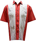 Bamboo Cay Mens Pacific Paneled Palms, Tropical Style Button Front Embroidered Camp Shirt (Large, Salmon)