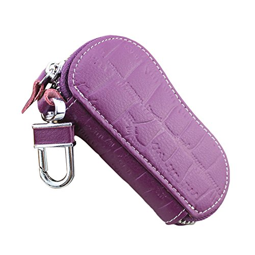 Keychain Case Bag (Quietcloud Fashion Faux Leather Car Key Bag Holder Keychain Ring Case Wallet for Men Women (Purple))