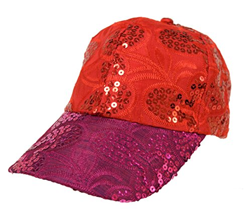 Fancy Design Embroidered Sequin Cap / Purple Brim Red Top Red Hat Society Red Hat Purple Sequin