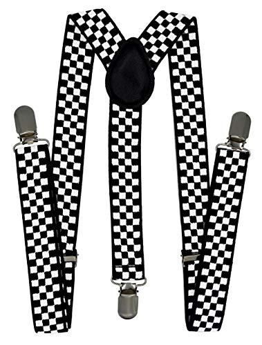 - Trilece Kids Boys Suspenders - Girls Toddler Baby - Adjustable Elastic Y Back and Strong Clips - Various Solid Colors (Checkered)