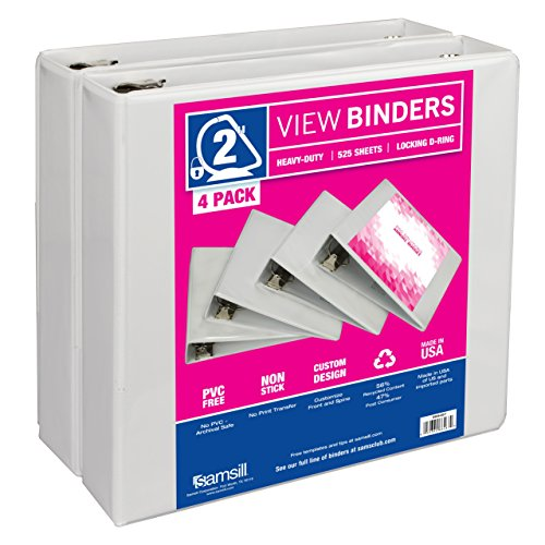 Durable D-ring View Binders (Samsill 3 Ring Durable View Binders - 4 Pack, 2 Inch Locking D-Ring, Non-Stick Customizable Clear View Cover)