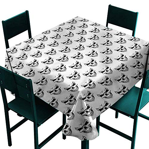 DONEECKL Washable Tablecloth Skull Sinister Expression Halloween for Kitchen Dinning Tabletop Decoration W70 -