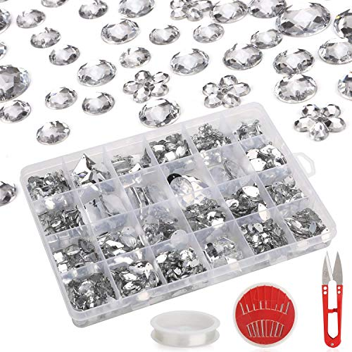 Stones Sparkly - 700+ PCS Craft Rhinestones Craft Clothes, AKWOX Crystal Gemstones DIY Sewing Set, Crystal Diamond Acrylic Stones Sparkly with Sewing Scissor Needles String, Sewing Beads Accessories