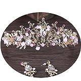 Crystal Rhinestone Flower Headband Comb Pin Bride Tiara Crown for Wedding Bridal