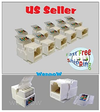 (pack of 10) - keystone jack tooless rj-45 cat-6 white