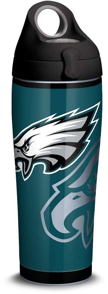 Tervis 1305180 NFL Philadelphia Eagles Rush Stainless Steel Insulated Tumbler with Black with Gray Lid, 24oz Water Bottle, Silver by Tervis
