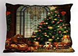 Ambesonne Christmas Pillow Sham, Magical Vintage Ambiance Big Old Fashioned Window Xmas Tree Various Presents, Decorative Standard King Size Printed Pillowcase, 36 X 20 inches, Brown Red Green