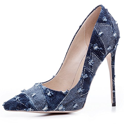 Chris-t Womens Cow-boy Satin Bout Pointu Escarpins Talons Aiguilles Escarpins Bleu Marine