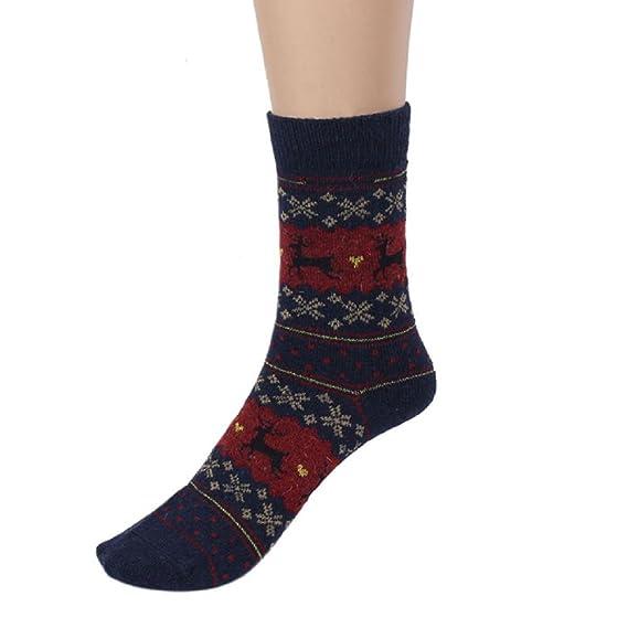 VJGOAL Mujeres Invierno Moda casual Ciervos navideños Diseño estampado Calcetines de lana de punto transpirables cálidos