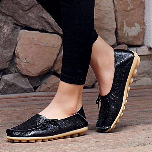 Transer® Hollow Soft Ladies Leisure Flats Shoes, Breathable Women Slip on Casual Work Loafers,Comfortable Leather Lazy Shoes Plus Size Black