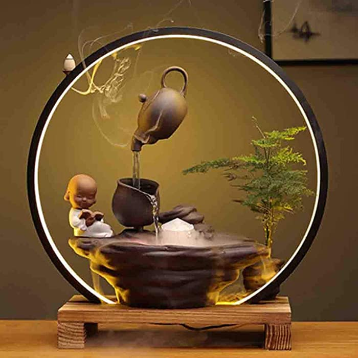FAEIO Tabletop Water Feature, Ceramic+Wood Indoor Water Fountain, with Led Light, Atomizer and Solid Wood Base Waterfall Feng Shui Ornaments, Great for Office, Living Room, Bedroom