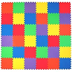 Non-Toxic 36 Piece, 10mm Children Play & Exercise Mat - Puzzle Play Mat for Kids & Toddlers, 6 Vibrant Colors