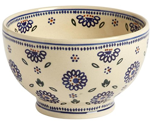 Polish Pottery Geometric Blue Floral Footed Serving Bowl, 7
