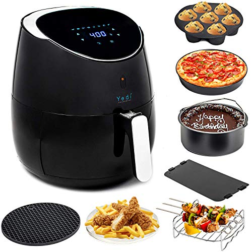 YEDI Total Package Air Fryer (100 Recipes & Deluxe Accessory Kit), 5.8Qt Electric Hot Air Fryers XL Oven Oilless Cooker, Smart Presets, LED Digital Touchscreen, Nonstick FDA & PFOA Free Basket, 2-Year Warranty, ETL/UL Listed, 1700W (Best Air Fryer For Chips)