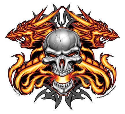 F.T.S.. - The Heat Skull with Dual Flaming Dragons - -