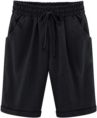 Elonglin - Bermudas para mujer, de algodón, hasta la rodilla, para ...