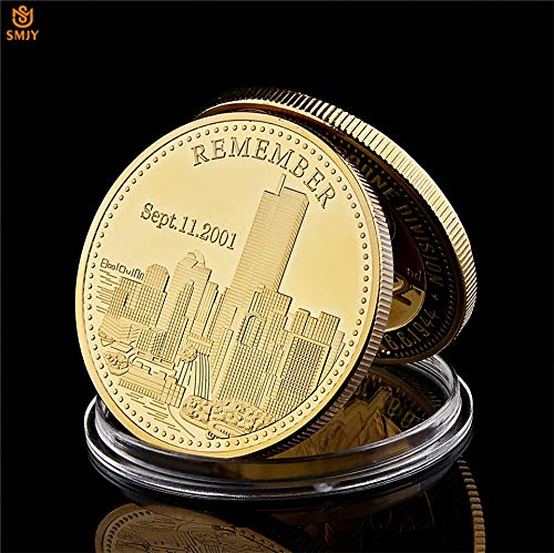 Momoso_store 2001.9.11 World Trade Center Building Terrorist Attack History Review Metal Plated Gold Challenge Collectible Coin, repilica Toys
