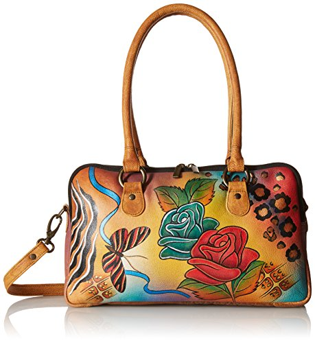 Anuschka Anna by Handpainted Leather Large Multi Comparment Satchel, Rose Safari