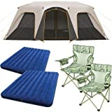 Cheap Bushnell 12 Person Instant Cabin Tent with 2 Bonus Queen Airbeds and 2 Yellow Chairs Value Bundle
