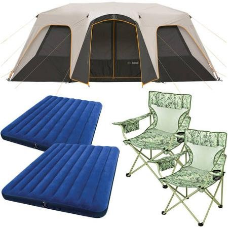 Bushnell 12 Person Instant Cabin Tent with 2 Bonus Queen Airbeds and 2 Yellow Chairs Value Bundle
