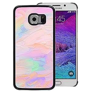 A-type Arte & diseño plástico duro Fundas Cover Cubre Hard Case Cover para Samsung Galaxy S6 EDGE (NOT S6) (Oil Paint Pink Peach Purple Artist Art)