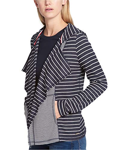 Tommy Hilfiger Womens Hooded Cardigan Sweater, Blue, Large (Tommy Hilfiger Women Cardigan)