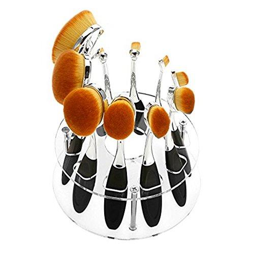 Hecentur Oval Makeup Brush Holder, 10 Holes Clear Acrylic Ov