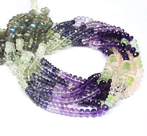 Beads Bazar Natural Beautiful jewellery 2 Strand Multi Gemstone Amethyst Moonstone Labradorite Rondelle Gemstone Craft Loose Beads 14