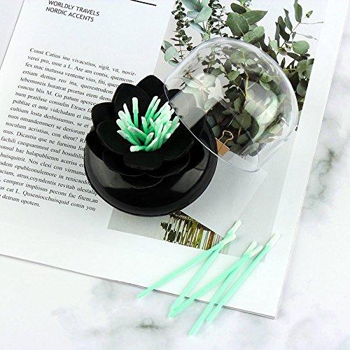 Kentop Lotus bastoncillos dispensador de retención de Soporte Cotton Swab palillo de Dientes dispensador bastoncillos de Caja con Protectora, Negro, ...