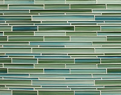 Rip Curl Green and Blue Hand Painted Linear Glass Mosaic Tiles