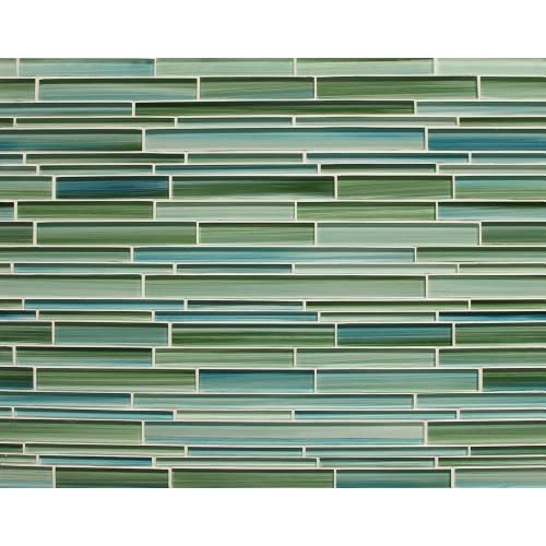 Sample - Rip Curl Green and Blue Hand Painted Linear Glass Mosaic Tiles 80%OFF